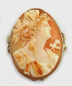Antique Victorian Cameo Brooch Butterfly Winged Woman Psyche Goddess