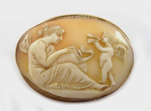 Antique Cameo Brooch Psyche & Cupid Butterfly Winged Woman Goddess God