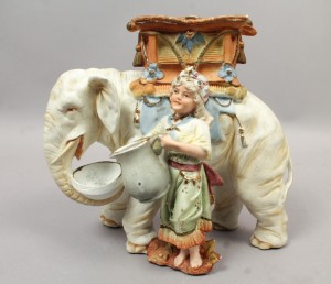 Orientalist Elephant & Girl Porcelain Smoking Stand