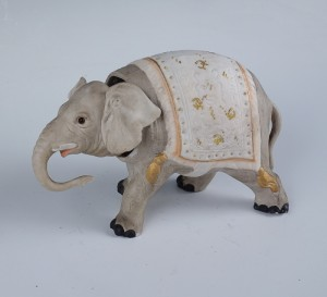 Antique Bisque Porcelain Elephant Nodder Figurine