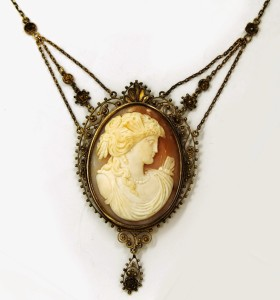 Antique Cameo Necklace Butterfly Winged Woman Goddess Psyche