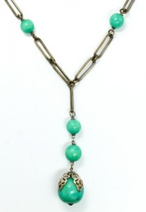 1920s Art Deco 14k Gold Jade Lavaliere Necklace