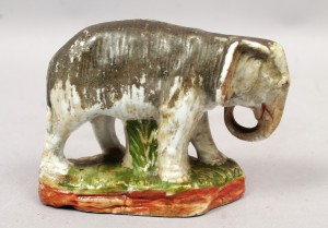 Antique European Porcelain Elephant Coin Bank