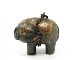 Antique Japanese Gilded Lacquer Elephant Netsuke